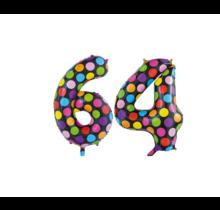 Folieballon 64 jaar stippen 86cm