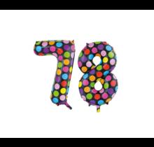 Folieballon 78 jaar stippen 86cm