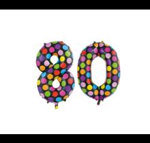 Folieballon 80 jaar stippen 86cm