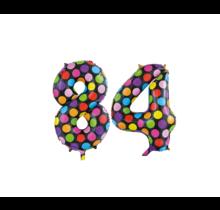 Folieballon 84 jaar stippen 86cm