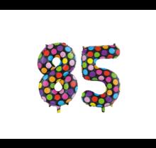 Folieballon 85 jaar stippen 86cm