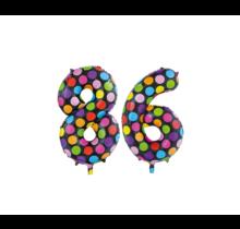 Folieballon 86 jaar stippen 86cm