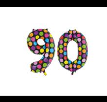 Folieballon 90 jaar stippen 86cm
