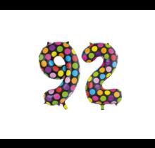 Folieballon 92 jaar stippen 86cm