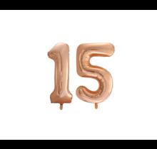 Folieballon 15 jaar Rosé Goud 86cm