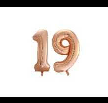 Folieballon 19 jaar Rosé Goud 86cm