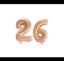 Folieballon 26 jaar Rosé Goud 41cm