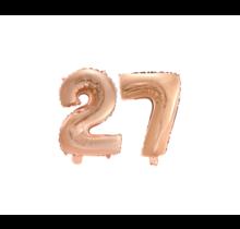Folieballon 27 jaar Rosé Goud 41cm