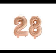 Folieballon 28 jaar Rosé Goud 41cm