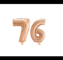 Folieballon 76 jaar Rosé Goud 41cm