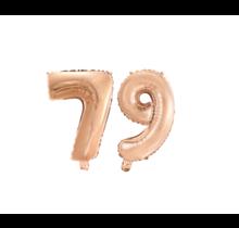 Folieballon 79 jaar Rosé Goud 41cm