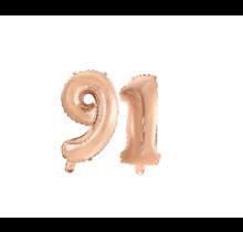 Folieballon 91 jaar Rosé Goud 41cm