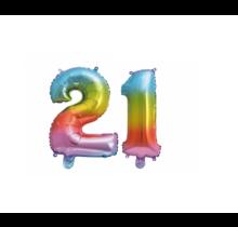 Folieballon 21 jaar Regenboog 86cm
