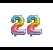 Folieballon 22 jaar Regenboog 86cm