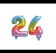 Folieballon 24 jaar Regenboog 86cm
