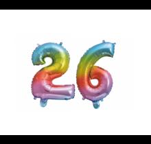 Folieballon 26 jaar Regenboog 86cm