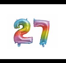 Folieballon 27 jaar Regenboog 86cm