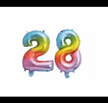 Folieballon 28 jaar Regenboog 86cm