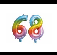 Folieballon 68 jaar Regenboog 86cm