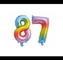 Folieballon 87 jaar Regenboog 86cm