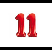 Folieballon 11 jaar rood 86cm