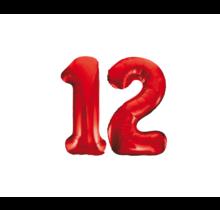 Folieballon 12 jaar rood 86cm