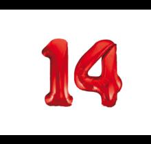 Folieballon 14 jaar rood 86cm
