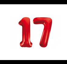 Folieballon 17 jaar rood 86cm