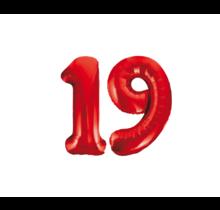 Folieballon 19 jaar rood 86cm