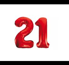 Folieballon 21 jaar rood 86cm