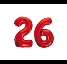 Folieballon 26 jaar rood 86cm