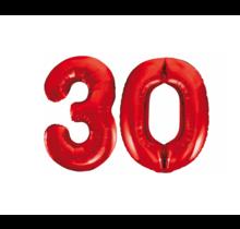 Folieballon 30 jaar rood 86cm