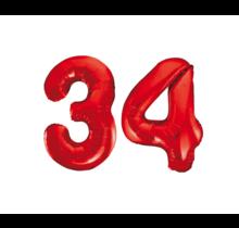 Folieballon 34 jaar rood 86cm