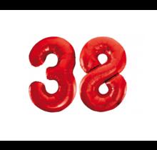Folieballon 38 jaar rood 86cm