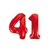 Folieballon 41 jaar rood 86cm