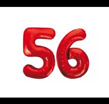 Folieballon 56 jaar rood 86cm