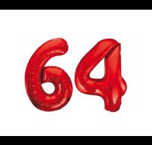 Folieballon 64 jaar rood 86cm