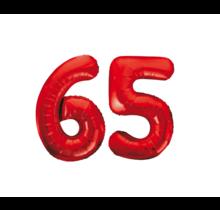 Folieballon 65 jaar rood 86cm