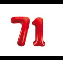 Folieballon 71 jaar rood 86cm