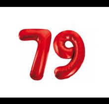 Folieballon 79 jaar rood 86cm