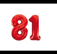 Folieballon 81 jaar rood 86cm
