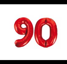 Folieballon 90 jaar rood 86cm