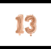 Folieballon 13 jaar Rosé Rosé Goud 41cm