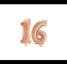 Folieballon 16 jaar Rosé Rosé Goud 41cm