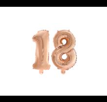 Folieballon 18 jaar Rosé Rosé Goud 41cm