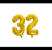 Folieballon 32 jaar Goud 41cm