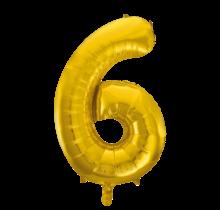 Folieballon 6 jaar Goud 41cm