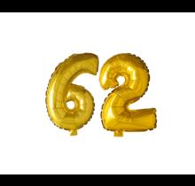 Folieballon 62 jaar Goud 41cm