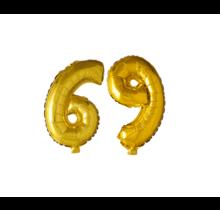 Folieballon 69 jaar Goud 41cm