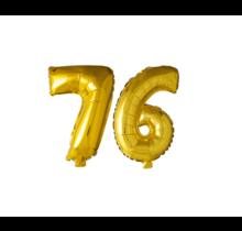 Folieballon 76 jaar Goud 41cm